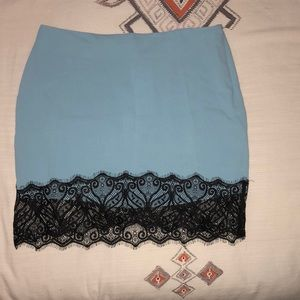 Tobi Skirts - Baby blue & black lace skirt